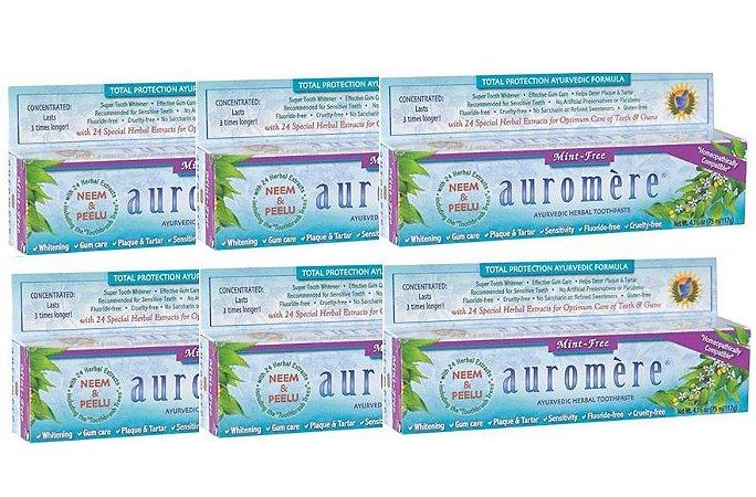 Auromere Kit Creme Dental Ayurvédico Mint-Free - Alcaçuz, Cravo e Gerânio 6un