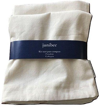 Junibee Saco de Algodão para Compras Kit 2uns