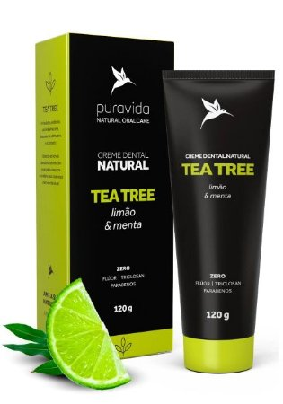 Puravida Creme Dental Natural Tea Tree - Limão e Menta 120g
