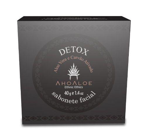 AhoAloe Sabonete Facial Detox Aloe Vera e Carvão Ativado 40g