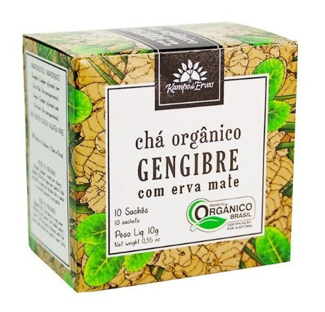 Kampo de Ervas Chá de Gengibre com Erva Mate Orgânico Caixa 10 Sachês