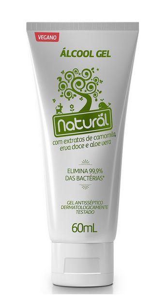Suavetex Natural Álcool Gel 70% com Camomila, Erva Doce e Aloe Vera 60ml