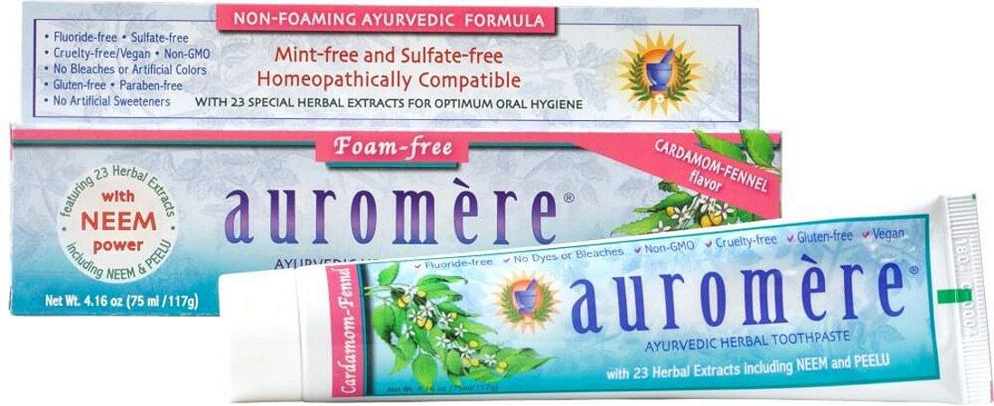 Auromere Creme Dental Ayurvédico Foam-Free - Erva Doce e Cardamomo 117g