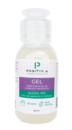 Positiv.a Álcool Gel Antisséptico 70% com Lavanda e Melaleuca 60ml