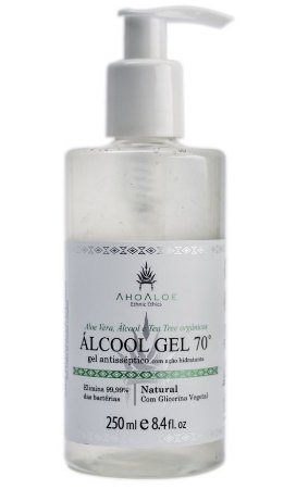 AhoAloe Álcool Gel Antisséptico 70% com Aloe Vera, Tea Tree e Glicerina Vegetal 250ml