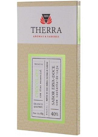 Therra Chocolate Branco Gourmet 40% Sabor Erva Doce com Castanha de Caju 80g