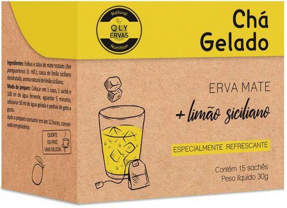 QLY Ervas Chá Gelado Erva Mate com Limão Siciliano Caixa 15 Sachês