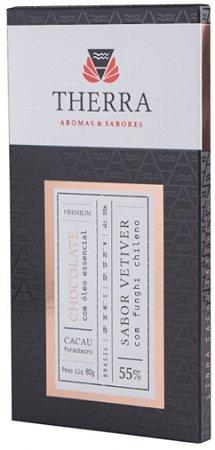 Therra Chocolate Gourmet 55% Sabor Vetiver com Funghi Chileno 80g