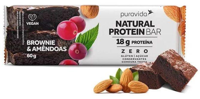 Puravida Natural Protein Bar - Barrinha de Proteína Brownie e Amêndoas 60g