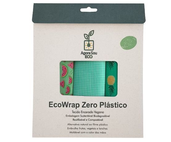 Agora Sou ECO Kit EcoWrap Tecido Encerado Vegano Zero Plástico 3un