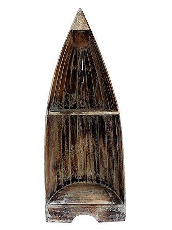 """Estante """"Barco"""" em Madeira de Bali 93cm"""