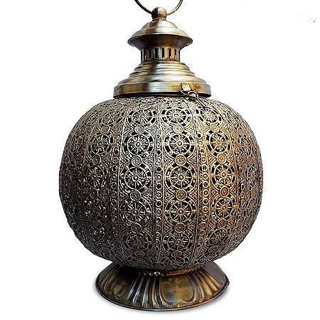 """Lanterna Indiana """"Arabesco"""" em Metal 33cm"""