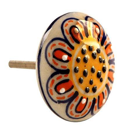 Puxador de Gaveta Girassol Cerâmica