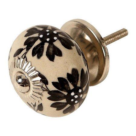 Puxador de Gaveta em Cerâmica Floral