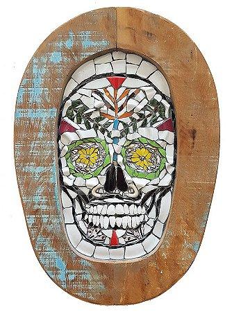 Placa Mosaico Caveira Mexicana 40cm