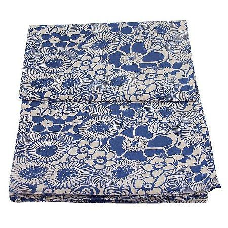 Colcha p/ Cama de Casal Floral Azul