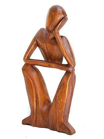 Escultura Abstrata Pensador 30cm - Arte Bali