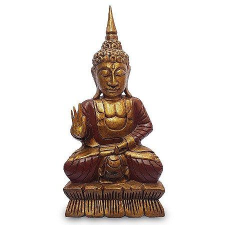 Estátua de Buda Em Madeira 60cm - Bali