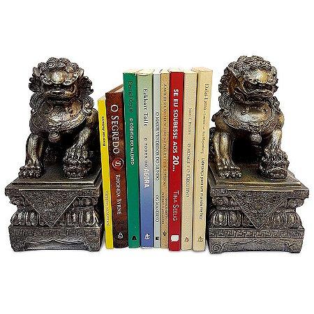Par de Esculturas Leões Fu Bronze