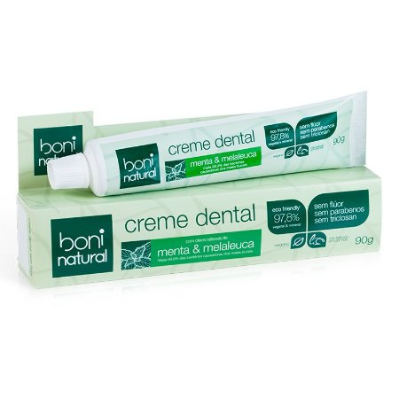Creme Dental Sem Flúor Menta e Melaleuca - Boni Natural 90g