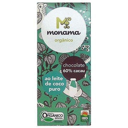 Chocolate Orgânico 60% Cacau ao Leite de Coco Puro - Monama - 60g