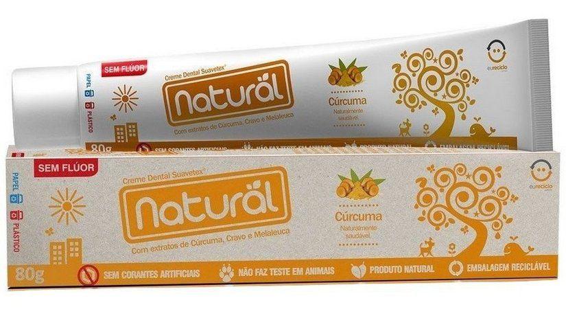 Creme Dental Natural Suavetex com Extratos de Cúrcuma, Cravo e Melaleuca - 80g