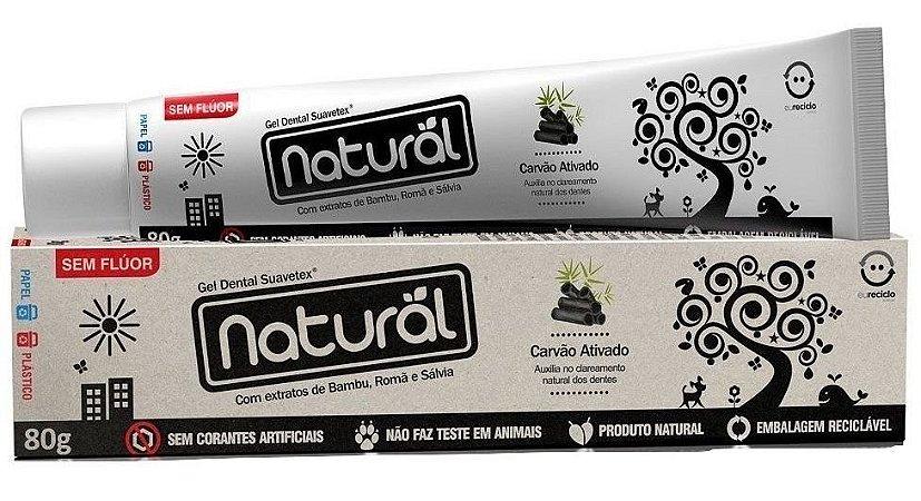Creme Dental Natural Suavetex com Carvão Ativado, extratos de Bambu, Romã e Sálvia - 80g
