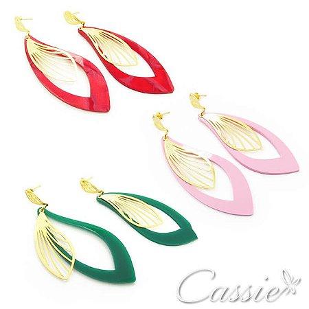 Brinco Acrílico Pétale - nas cores Vermelho, Rosa e Verde