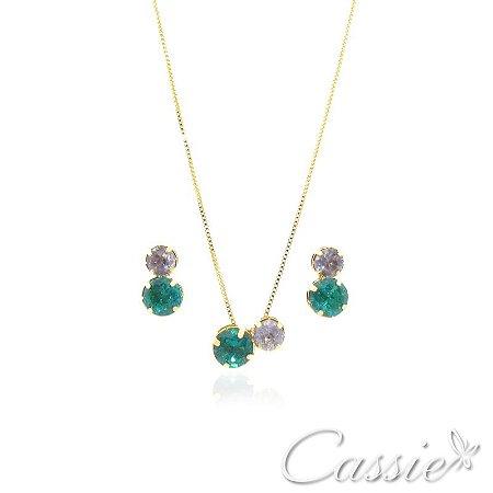 Conjunto Due Zircônias Ametista e Verde Esmeralda