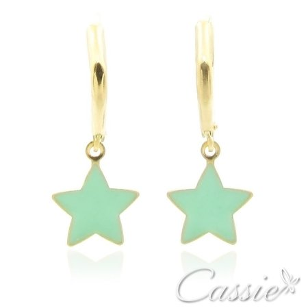 Argola Pingente Estrela Verde Água