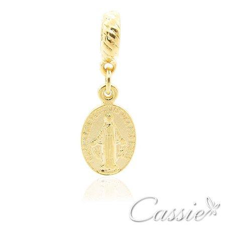 Charm Pingente Medalha Nossa Senhora das Graças Dourado
