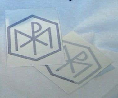 adesivo logotipo das Congregações Marianas - branco