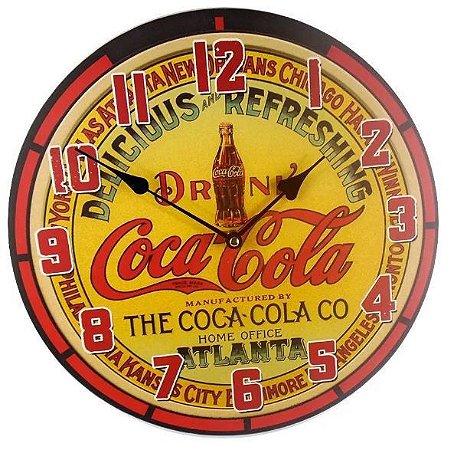 Relógio de Parede MDF Coca cola - Delicious Refreshing