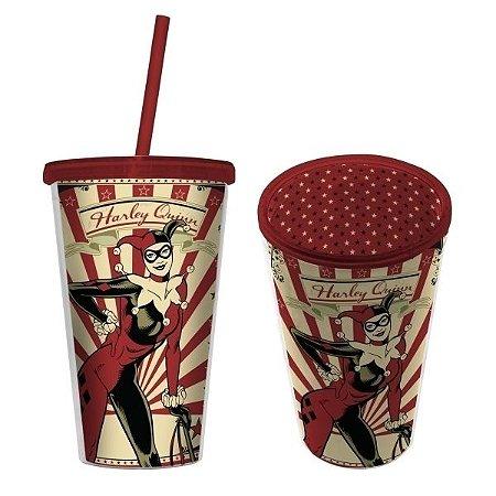 Copo com Tampa e Canudo Arlequina, Harley Quinn - DC Comics