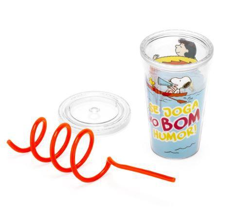 Copo com canudo Espiral Snoopy 450ml - Licenciado