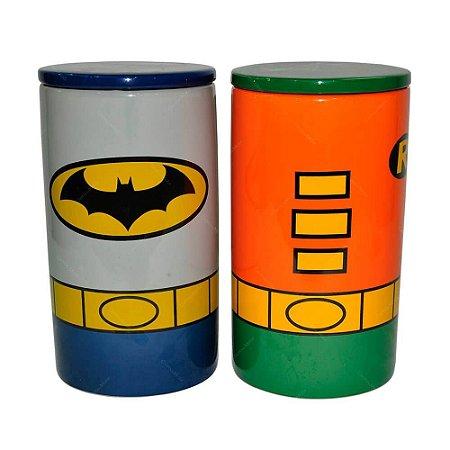 Conjunto com 2 Potes de Cerâmica Batman e Robin - DC Comics