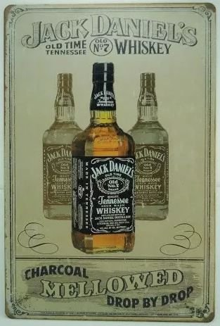 Placa metal Jack Daniels - Mellowed Amarelada