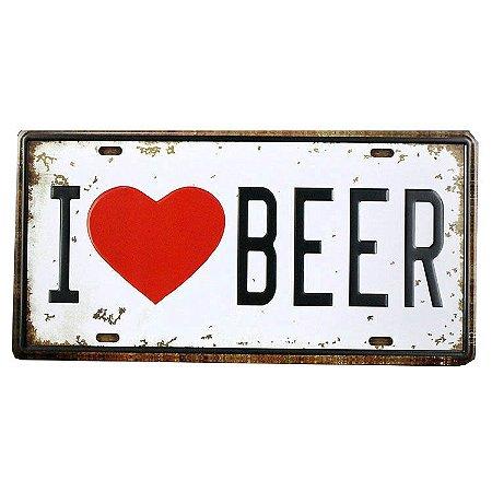 Placa decorativa Carro I Love Beer