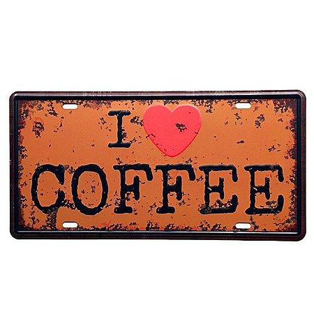 Placa decorativa Carro I Love Coffee