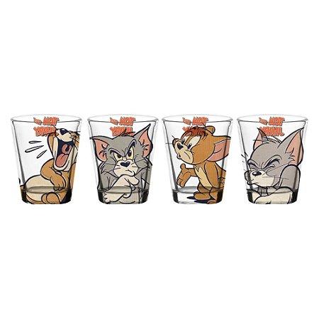 Conjunto 4 Copos Shot Tom e Jerry - Licenciado Hanna Barbera