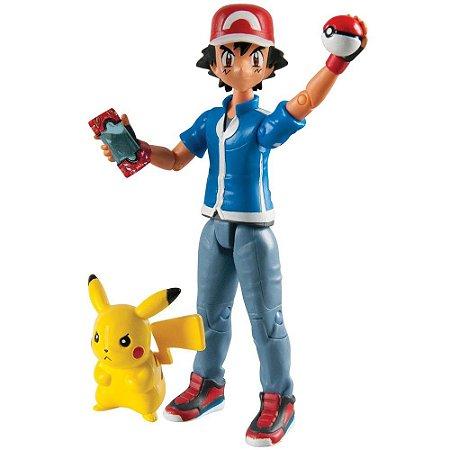 Boneco Articulado Ash,Pikachú,Pokédex  e Pokébola