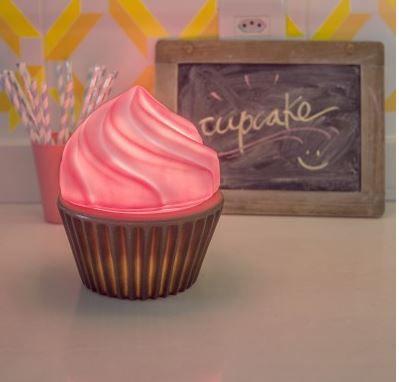 Luminaria Abajur Bivolt - Cupcake Rosa