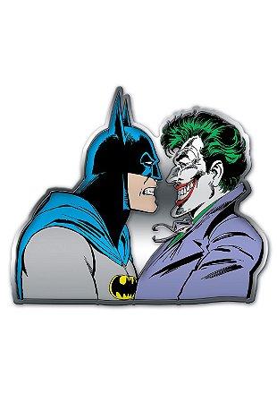 Placa de Metal Recortada Batman e Coringa, Joker - DC Comics