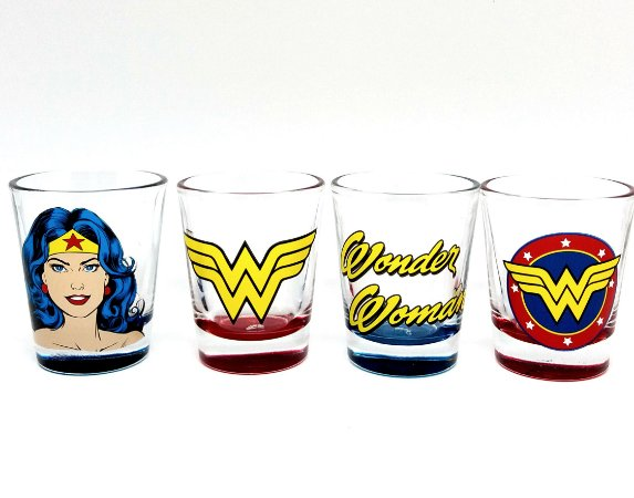 Conjunto com 4 Copos Shot Mulher Maravilha - DC Comics