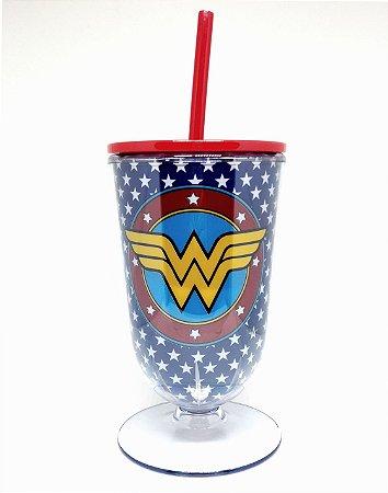 Copo Taça Acrílica Mulher Maravilha Logo Blue Stars - DC Comics
