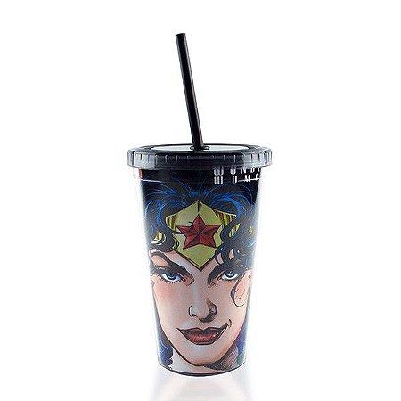 Copo com Tampa e Canudo Mulher Maravilha Face - DC Comics