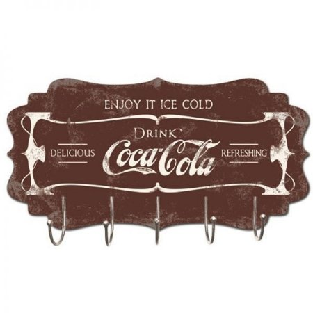 Cabideiro de Madeira Vintage. Coca Cola. Enjoy it ice cold