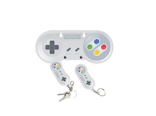 Porta Chaves Acrílico c/ 2 Chaveiros - Super Nintendo SNES