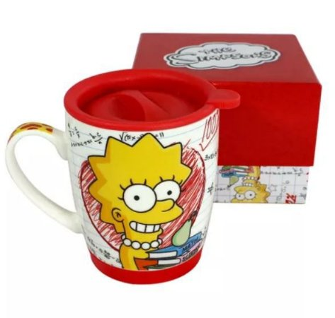 Caneca 350ml c/ Tampa e Base de Silicone - Lisa Simpson
