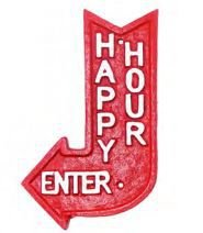Placa em Ferro Seta Happy Hour